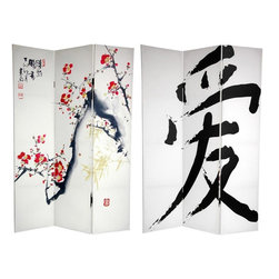 Oriental Furniture - 6 ft. Tall Double Sided Cherry Blossoms and Love Canvas Room Divider - Express your love for Chinese style with this pair of art prints, photographed and enlarged specifically for our screens. On the front is a serene ink watercolor Sumi-e style painting of a blossoming plum tree, of beauty and hope. The back features a huge, classic brush art rendering of the Hanzi symbol for Love. These simple, beautiful East-Asian works of art provide lovely interior design elements for your living room, bedroom, dining room, or kitchen.