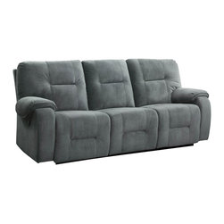 Homelegance - Homelegance Bensonhurst Power Double Reclining Sofa in Cool Blue Grey Fabric - Ease into joyous comfort with the Bensonhurst collection. This power motion group gently reclines with the push of a button. Overstuffed seating, back and arms are covered in a cool blue grey imprinted fabric. Combined with your personal decor, this comfortable seating group will blend effortlessly in your living room.