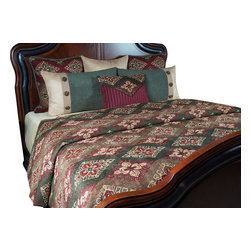 Denver II King Coverlet Set - Fun Ruby Red with Taupe and Green gives this Southwestern its look. Highlights  of Brown finish this exciting look.