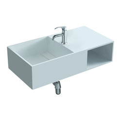 ADM - Matte White Wall Hung Resin Sink - When it comes to bathroom sinks, this fixture thinks inside the box. It's crafted of manufactured stone resin with a square sink basin and boxy cutout shelf for beauty products or rolled towels. The wall-hung design looks sleek and saves space at the same time.