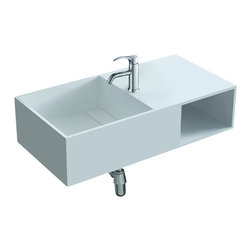ADM - ADM Matte White Wall Hung Stone Resin Sink - When it comes to bathroom sinks, this fixture thinks inside the box. It's crafted of manufactured stone resin with a square sink basin and boxy cutout shelf for beauty products or rolled towels. The wall-hung design looks sleek and saves space at the same time.