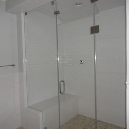 "Frameless Steam Shower Enclosure - Fully frameless steam enclosure with operating transom.  Pool house bath.  Glass is 1/2"" starphire low iron glass."