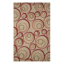 "Trans Ocean Rugs - Trans Ocean Spello 1936/24 Hoops Red 8'3"" x 11'6"" Area Rugs - Trans Ocean Spello 1936/24 Hoops Red 8'3"" x 11'6"" Area Rugs"