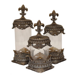 None - Casa Cortes Hand-finished Decorative Glass Canister (Set of 3) - Add endless refinement to your decor with these decorative canisters. These glass canisters are ideal to display a variety of items.