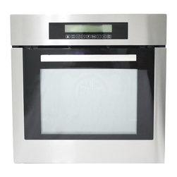 "Cosmo - 24"" Electric Wall Oven with 10-functions, 24"" - A small kitchen can still have big style with the 24"" 10-Function Built-In Oven. The smaller cavity dimensions fit any kitchen design and reduces energy consumption while still providing ample space to prepare your meals with efficiency and ease. With its classic brushed stainless steel finish, this built-in oven is designed to perform as well as it looks. The cool-touch door protects you and your family from high temperatures while cooking."