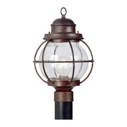 Design Craft - Elton 1-light Copper Vintage Post Lantern - Add a rich,maritime-inspired accent to your home decor with the Elton outdoor post lantern. A bright seeded glass shade and spherical weathered copper cage make this lantern a fashion-forward addition to any space.