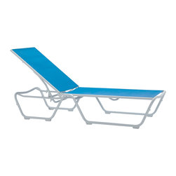 "Tropitone - Tropitone Millennia Relaxed Sling Stackable Chaise Lounge - The Millennia outdoor furniture set exhibits an interaction of form line and function that takes charge wherever you place it. A modern classic designed by Richard Holbrook Millennia's simple lines and commanding presence will keep you in stylish shape all year round. This complete line of outdoor furniture includes sling chairs sling patio furniture barstools dining chairs and chaise lounges. Millennia - because sometimes the less said the better.Tropitone Furniture Company has satisfied the product and service requirements of those that design and use the world's most enjoyable residential and commercial outdoor spaces since 1954. Today the Tropitone Furniture Company has broad and deep portfolios of residential products specifically designed for poolside garden patio and deck fireside balcony and sunroom. All are designed with the same standard of performance excellence. And the purchase and ownership experience of those who design and use residential outdoor spaces is guided by the same. Although inspired by the past Tropitones patio furniture designs are predominately modern and contemporary. Ornate traditional details often balance contemporary advances in comfort and style.  Designed for commercial use at the world's finest resorts hotels and other locations Tropitone furniture delivers performance comfort durability and style. With manufacturing facilities in both Florida and California Tropitone is able to provide high quality custom made furniture in one of the shortest ""order to ship"" cycles in the industry.  Features include Affordable simple refined and stylish Durability and easy to maintain Sturdy weatherproof furniture Long lasting structural integrity Best strength to weight ratios Very durable and light weight aluminum material Minimal maintenance required Suitable to be used anywhere outside Available in various powdered coated finishes Offered in wide selection of sling options Stackable for convenience of storage Commercial Grade. Specifications Seat Height: 14.5 inches."