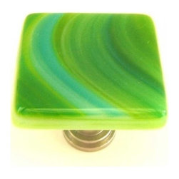 Uneek Glass Fusions - Turquoise and Green Swirls Art Glass Knob - Collection: Liscio