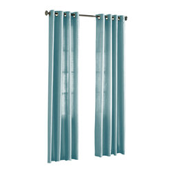 """HLC.ME - HLC.ME Pair of Faux Silk Grommet Curtain Panels, Light Blue, 54"""" X 84"""" - Our luxurious Faux Silk Grommet Panels give your home a new elegant look. Each panel is 56"""" in Width and 84"""" in Length. For a full look use 2 panels to cover a standard size window (23"""" to 36"""" wide window). This picture shows two faux silk grommet panels  this package contains two (2) faux silk Grommet Panels to complete the set. Decorate every window with style and sophistication. Allows only some light to naturally flow through the room. The finishing touch for your window is a beautiful Decorative Curtain Rod (not included). All curtain sizes are approximate."""