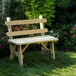 Fifthroom - Treated Pine Traditional Garden Bench w/Back - When you're tired and want to relax, it's always best to take a backed seat.  Just put our Treated Pine Traditional Garden Bench with Back in your favorite spot, settle in, and let the stress evaporate.  The best part is that if you don't already have a favorite spot, one will magically appear wherever you place this bench.
