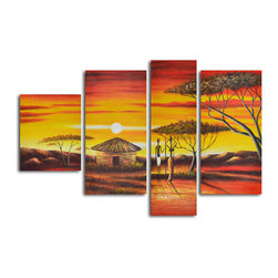 "African homestead sunset Hand Painted 4 piece canvas set - Size: 40"" x 60"" (16"" x 20""  1pc; 16"" x 32"" x 2pc; 12"" x 40"" x 1pc)"