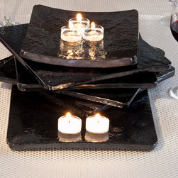 "9"" or 10"" AuroraStone™  Curved Centerpiece Platters - This versatile table sculpture is artistically stunning on its own or when put to use as a centerpiece platter on your table to capture the reflection of a floral arrangement, the glow of candlelight, or the last rays of a rosy sunset. Stack flat and curved platters for a centerpiece sculpture."