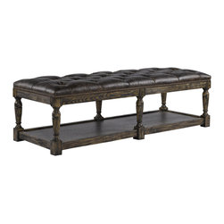 Bensington Leather Tufted Ottoman - Bensington coffee ottoman is Upholstered in supple leather with hand hammered brass nails. Hand-carved solid weathered ash frame.