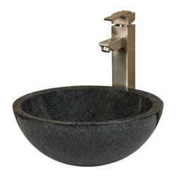 Round Offset Rim Polished Granite Vessel Sink - This contemporary design features a classic round shape paired with an offset rim. Made of natural, hand-carved granite, the glossy smooth finish of this vessel sink makes it a beautiful addition to any bathroom.