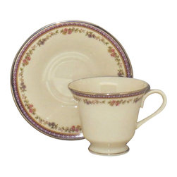 "Royal Doulton English Renaissance  16"" Oval Serving Platter,2002,Traditional,1,2 - Lenox Amethyst Footed Cup & Saucer Set - Lenox Amethyst Footed Cup & Saucer Set"