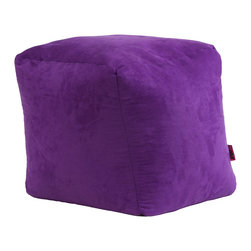 Great Deal Furniture - Jamie Microfiber Square Kids Bean Bag, Purple - The Jamie bean bag provides you or your child a comfortable seat in any room. The puncture-proof microfiber cover is durable for any child with a combination of long-lasting polystyrene beans. Perfect for the bedroom, home theater rooms, family and game rooms.