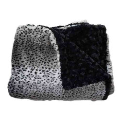 Belle & June - Winter Leopard and Black Lux Minky Throw - Add texture and sophisticated style to your space with this cozy yet decorative throw blanket. Featuring always-in-style black and white leopard on one side and solid black on the reverse, this faux fur sofa throw blanket is one of the softest we've ever come across. Try giving it as a gift or buy one for your self and drape over an ottoman or sofa.
