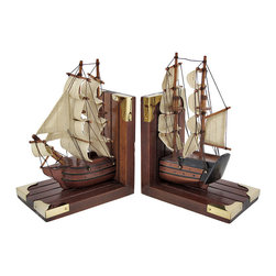 Pair Of Wooden Nautical Tall Ship Bookends Book Ends - This awesome pair of wooden bookends form an 1800`s tall ship. The bookends feature linen sails, string rigging and wooden masts, Each bookend measures 9 inches tall, 5 7/8 inches wide and 3 3/4 inches deep. They are great conversation pieces, and they do a good job holding books up too. They make a great gift for book lovers, and look great in dens or libraries.