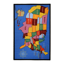 None - Kid's Educational United States Map and Cities Non-skid Area Rug (4'3 x 6'1) - Add a fun and functional touch to any kid's room with this colorful,educational area rug. Boasting vivid colors with a United State map theme,this exciting rug is complete with a non-skid rubber backing to alleviate the need for a rug pad.