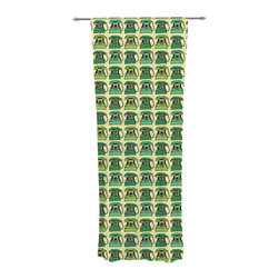 """Kess InHouse - Holly Helgeson """"Vintage Telephone"""" Green Pattern Decorative Sheer Curtain - Let the light in with these sheer artistic curtains. Showcase your style with thousands of pieces of art to choose from. Spruce up your living room, bedroom, dining room, or even use as a room divider. These polyester sheer curtains are 30"""" x 84"""" and sold individually for mixing & matching of styles. Brighten your indoor decor with these transparent accent curtains."""