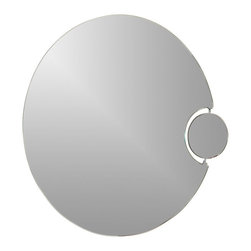 Decor Wonderland Mirrors - Decor Wonderland Frameless Wall Mirror With Magnification - Strike a pose in front of this stylish and super modern round large frameless wall mirror. Perfect mirror for your bathroom as it features a small magnification mirror.