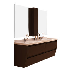 "Macral - Flow Bathroom Vanity Set in Toffee Matte Lacquer - Flow 64"" wall mounted bathroom vanity SET."