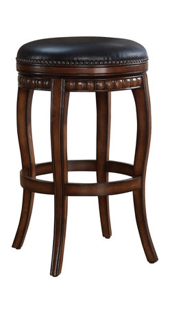 None - Lily Honey Counter Stool - The Lily stool boasts a plush bonded leather cushion and webbed seating for ultimate comfort. With its hardwood frame,this honey-stained stool offers a full-bearing swivel and long-lasting durability.