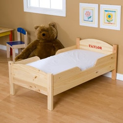 Little Colorado Personalized Traditional Toddler Bed - The Little Colorado Traditional Toddler Bed gives your toddler the opportunity to feel all grown up but on the weekends they can still sleep in. The option to personalize the bed (up to 10 letters) makes them feel even more grown up and important. With such a classic and durable design you'll be able to use this bed for years to come as the transition away from the crib gets easier and easier. This toddler bed stands low to the ground making it easy and safe for little ones to climb in and out of bed. Equipped with side rails this bed will protect your sleeping toddler. It's available in nine different finishes (based on availability): Honey Oak Lavender Light Green Linen Natural Lacquer Powder Blue Soft Pink Solid White or Unfinished. Recommended for children 18 months to 4 years old. Weight capacity: 50 pounds. Dimensions: 55L x 30W x 22H inches. Little Colorado is a Green CompanyAll finishes are water-based low-VOC made by Sherwin Williams and other American manufacturers. Wood raw materials come from environmentally responsible suppliers. MDF used is manufactured by Plum Creek and is certified green CARB-compliant and low-formaldehyde. All packing insulation is 100% post-consumer recycled. All shipping cartons are either 100% post-consumer recycled or are made of recycled cardboard. About Little ColoradoThis item is made by Little Colorado. Begun in 1987 Little Colorado Inc. creates hand-crafted children's furniture from solid wood. It is a family-owned business that takes pride in building products that are classic stylish and valued just right. All Little Colorado products are proudly made in the U.S.A. with lead-free paints and materials. With a look that is very expensive but a price that is not Little Colorado products bring quality and affordability to your little one's room.