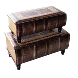 River of Goods - Set of two Antique Book Trunks - Stop the presses! These nesting trunks are designed to look like old leather bound books! Perfect for a book lover or library den area
