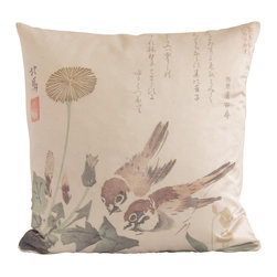 "Poetic Pillow - Dandelion Teisai Hokuba Poetic Pillow - • 20"" X 20"" square pillow"