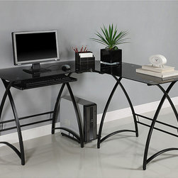 Walker Edison - Black Glass L-shape Corner Computer Desk - Modernize your home office or study with this corner computer desk. The L-shape provides the perfect corner wedge for space-saving needs. Includes a CPU stand and a sliding keyboard tray.