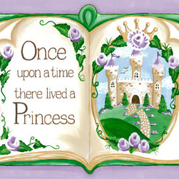 "Oopsy Daisy / Sherri Blum - Storybook Once Upon a Time Princess Nursery Wall Art - Storybook Once Upon a Time princess nursery wall art by Sherri Blum of Jack and Jill Interiors. Measuring 24""x18"", this giclee canvas reproduction is made in the USA of the finest materials. Our princess decor is the finishing touch for your pink princess girl's room, princess theme nursery and will be an heirloom to enjoy for generations in any fairytale room."