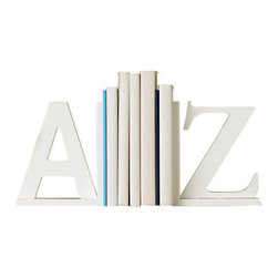 Design Ideas - A to Z Bookends - For the bookworm in your life. Organize your bookshelf with these whimsical bookends.
