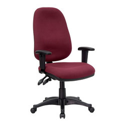 Flash Furniture - Contemporary Office Swivel Chair w Adjustable - Full back and shoulder support are an advantage you'll enjoy in any office setting. This office chair is a workhorse designed with multiple customization options for personalization. Plush padding easily conforms while providing ergonomic benefits through the lumbar region and seating area. Ergonomic computer chair. Swivel chair. Pneumatic height adjustment. Back angle adjustment. Lumbar support. Burgundy fabric. 5 Star nylon base with casters. Height adjustable arms. Seat Height: 16.5 in. - 21 in. H. Height: 40.75 in. - 45.25 in. H. Back: 18.75 in. W x 23.25 in. H. Arm Height: 6.75 in. - 9.25 in. (from Seat). Seat: 20.5 in. W x 18.5 in. D (25 lbs.)