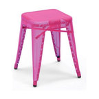Tolix - Tolix Marais Stool, Perforated - Chantal Andriot took the helm of the French company Tolix in 2004, and through her passion for the brand and innovative approach, this iconic company has been revived. The new perforated collection (2009) was her idea - a brainstorm that came from seeing a piece of perforated steel in the factory. She challenged her team to design a chair that was perforated but still structurally sound. One year, and countless prototypes later, they succeeded. The perforated chairs and stools bring a unique twist to the classic Marais designed in 1934. The Marais Collection will stand up to the rigors of public use, but should be protected from wet weather conditions to maintain the finish. Made in France.
