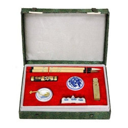 Oriental Furniture - Calligraphy Writing Set - Calligraphy is one of the greatest and most iconic arts of China. This mandarin calligraphy writing set comes in a green silk gift box. It includes the traditional tools necessary to the art of calligraphy, including a set of two bamboo and horsehair brushes, a black ink stick, red ink paste in a porcelain jar, a porcelain mixing bowl and ladle, a porcelain brush stand and a soapstone dragon chop (stamp).
