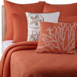 Ivy Hill Home - Solid Seashell Coral Quilt - Transform your bedroom into a soothing beach-side getaway with the Solid Seashell quilt. Beautiful seashell quilting brings a subtle coastal accent to this bedding, while rich colors add brightness and personality to your décor.