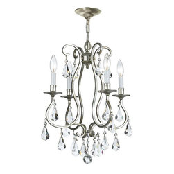 Crystorama Lighting - Crystorama Lighting 5014-OS-CL-MWP Ashton Transitional Mini Chandelier - Crystorama Lighting 5014-OS-CL-MWP Ashton Transitional Mini Chandelier in Olde Silver with Clear Hand Cut Crystal