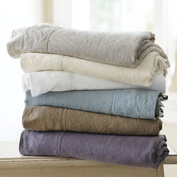 Ballard Designs - Casa Florentina Washed Linen Sheet Set - Hand finished in Italy of 100% linen. Machine wash warm. Use only non-chlorine bleach. Swatches available. It's the ultimate indulgence. Casa Florentina Linens are created from the finest flax, each piece finished with an intricate railway stitch, then washed for luxurious softness and a comfortably rumpled look. Naturally supple and breathable, these linens get softer and more inviting with every wash. Duvet and Shams come in their own matching drawstring linen bag you can use for packing shoes or delicates. Cotton Linen Sheet set features: . . . .