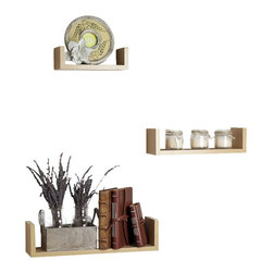 "Danya B. - Floating 'U' Laminated Veneer Shelves (Set of 3), Beech - This set of 3 Nesting ""U"" Shelves makes space utilization efficient & is perfect for displaying your favorite books, collectibles, photos, toys, awards, CD's, videos, decorative items and more. They can be hung with the vertical sides either up or down, according to the effect you want to create. With the vertical sides up, it is like having a built in bookend. With its contemporary espresso, wood grain,�black�or classic white finish, they are the ideal accent for any living space. Easy to install with no visible connectors or hanging hardware. All hardware included.� Overall measures: Large: 17 x 4 x 4"".� Medium: 13 x 4 x 3.5"".� Small: 9 x 4 x 3""."