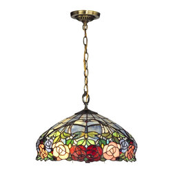 Dale Tiffany - Dale Tiffany TH12233 Zenia Rose Traditional Pendant Light - Louis Comfort Tiffany's well-known love of nature is again recreated in our Zenia Rose hanging pendant. A bevy of abundant roses in shades of red, lavender, pink and yellow, nestled amidst lush greenery runs along the bottom edge of the shade. Just above, Tiffany's trademark dragonflies cavort about against a blue-green sky. Vivid blue and crimson art glass jewels are interspersed throughout the design, which adds an extra dimension of color and texture. The shade hangs from a metal vase cap, chain and ceiling canopy, all finished in antique bronze. A lovely choice over a kitchen or informal dining area, Zenia Rose will add charm and grace wherever it is hung.