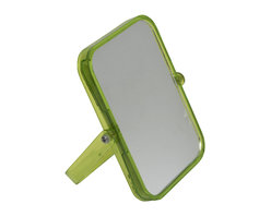 Magnifying Dual-Sided Pivot Mirror Rectangular Shape Green - This magnifying dual-sided pivoting mirror features a colorful transparent plastic frame. This rectangular shape mirror rotates side to side providing versatile viewing. The 2X magnification side is ideal for makeup application, tweezing or other grooming tasks and the regular side is ideal for all-around hairstyling and cosmetics. Conveniently folds for travel and storage. Dimensions are length of 6.10-Inch, height of 7.48-Inch and diameter of 0.87-Inch. No assembly required. Clean with warm soapy water. Color green. This magnifying pivoting mirror is perfect for use on any countertop or travels and is an ideal complement to virtually any bathroom decor! Complete your decoration with other products of the same collection. Imported.