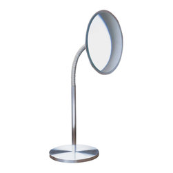 WS Bath Collections - Sunny Freestanding Magnifying Mirror w Flexib - Choose Magnification: 3xMakeup Magnifying Mirror. Massive Solid Stainless Steel. Hand Brushed. Made to Highest Industry Standards. Made in Germany. Product Material: Brushed Stainless Steel. Finish/Color: Silver. Dimensions: 6.3 in. Diameter x 15.9 in. H