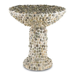 Currey and Company - Frogmore Birdbath - An avian maison de bain, the Frogmore Birdbath showcases an earthen, pebbled bowl and rock-solid concrete base. The Frogmore is designed to improve over time; weathering and exposure to the elements coalesces the Frogmore with it's environment.