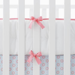 Serena & Lily - Punch Basics Crib Bumper - One-piece hand-tufted bumper with contrast piping and twill tape ties. Machine wash. Imported. Insert is not removable.