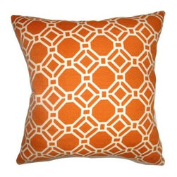 The Pillow Collection Cadena Chain Link Pillow - Clementine - Like faceted jewels, the geometric shapes of The Pillow Collection Cadena Chain Link Pillow - Clementine link to form a sparking accent. Made of 100% cotton, this modern square pillow features a plush 95/5 feather/down insert for luxurious softness. The clean, white geometric pops against the contrasting vibrancy of the warm clementine background.About The Pillow CollectionIdentical twin brothers Adam and Kyle started The Pillow Collection with a simple objective. They wanted to create an extensive selection of beautiful and affordable throw pillows. Their father is a renowned interior designer and they developed a deep appreciation of style from him. They hand select all fabrics to find the perfect cottons, linens, damasks, and silks in a variety of colors, patterns, and designs. Standard features include hidden full-length zippers and luxurious high polyester fiber or down blended inserts. At The Pillow Collection, they know that a throw pillow makes a room.