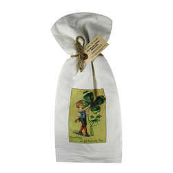 Greetings on St Patrick's Day    Flour Sack Towel  Set of 2 - A fabulous set of 3 flour sack towels. This set features a wonderful antique print of St. Patrick's Day.   These towels are printed in the USA by American Workers!
