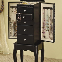 Coaster - Queen Anne Style Jewelry Armoire in Black Fin - Five drawers. Felt lined top compartment. Convenient mirror. Two side doors with hooks for necklaces accessories organized. Cabriole legs. Scalloped trim. Interior hooks provides convenient hanging space for necklaces, lockets and chains. Minimal assembly required. 13 in. W x 9.5 in. D x 35 in. H. WarrantyWhether the pieces in your jewelry collection are more costume or couture, this collection of jewelry armoires offers a stylish solution that meets all of your storage needs.