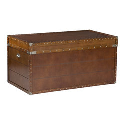 "Holly & Martin - Bristol Trunk Cocktail Table - Hide your junk in this cocktail trunk. The classic brass embellishments of this piece say ""antique"" — but it offers much more in smooth, easy open/close functions and, not to mention, plenty of room!"