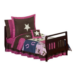 Sweet Jojo Designs - Western Cowgirl Toddler Bedding Set - The Sweet Jojo Designs Western Cowgirl 5 Piece toddler bedding set will help your little girl kick up her heels and drift off to dreamland like a real cowgirl. This striking baby bedding set uses a collection of exclusive Jojo Designer Prints. The coordinating fabrics include 100% Cotton Jojo Pink, Brown and Blue Cowgirl Print fabric, Brown and Cream Cow Print, Pink Bandana Print, Denim, and Chocolate Microsuede. Detailed with embroidered horseshoes and sheriff stars, this set will create a western theme room that your little cowgirl is sure to enjoy.